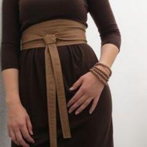 NWT Diane Von Furstenberg lrg Obi Wrap Cork Belt M